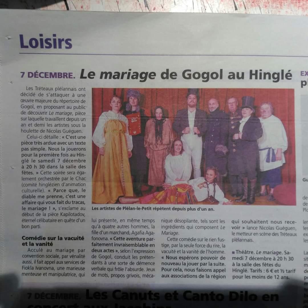 Article petit bleu Le Mariage